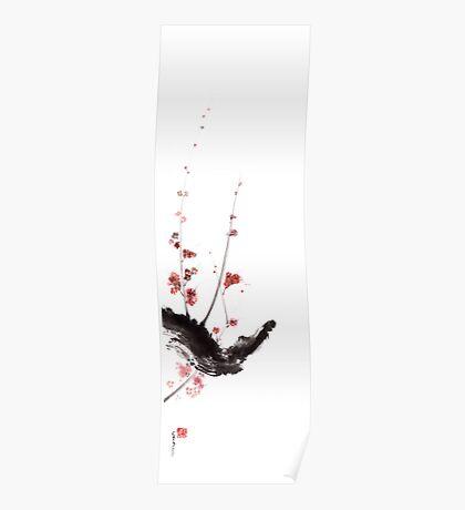 Sakura cherry blossom orange pink red flowers tree watercolor original ink painting Poster