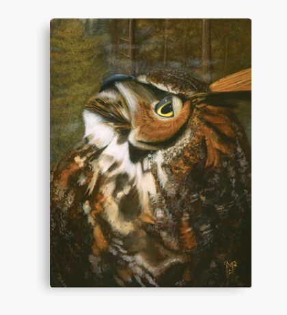 Hoot at the Moon - A Great-Horned Owl Portrait Canvas Print