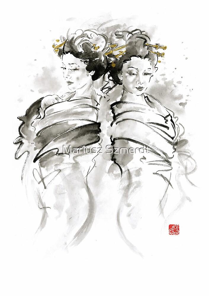 Geisha Japanese women woman in kimono traditional original Japan painting art hair pin style design gold silver  by Mariusz Szmerdt