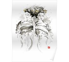 Geisha Japanese women woman in kimono traditional original Japan painting art hair pin style design gold silver  Poster