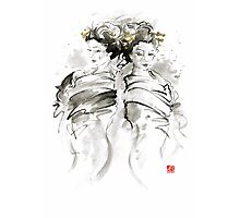 Geisha Japanese women woman in kimono traditional original Japan painting art hair pin style design gold silver  Photographic Print