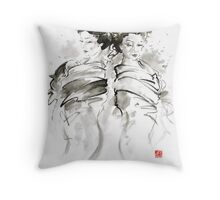 Geisha Japanese women woman in kimono traditional original Japan painting art hair pin style design gold silver  Throw Pillow