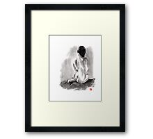 Woman geisha erotic act beautiful girl 女性 Japanese ink painting Framed Print