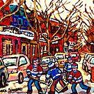VERDUN MONTREAL WINTER CITY SCENE HOCKEY ART PAINTING by Carole  Spandau