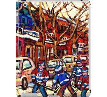 VERDUN MONTREAL WINTER CITY SCENE HOCKEY ART PAINTING iPad Case/Skin