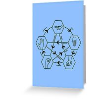 How to play Rock-paper-scissors-lizard-Spock (light) Greeting Card