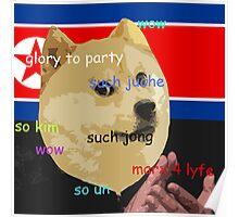 Wow so Juche - North Korean Doge Poster