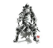 Samurai sword bushido katana armor silver steel plate metal kabuto costume helmet martial arts sumi-e original ink painting artwork Photographic Print