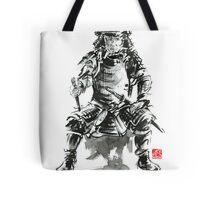 Samurai sword bushido katana armor silver steel plate metal kabuto costume helmet martial arts sumi-e original ink painting artwork Tote Bag