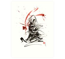 Samurai sword black white red strokes bushido katana martial arts sumi-e original fight ink painting artwork Art Print