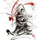Samurai sword black white red strokes bushido katana martial arts sumi-e original fight ink painting artwork by Mariusz Szmerdt