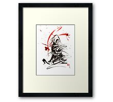 Samurai sword black white red strokes bushido katana martial arts sumi-e original fight ink painting artwork Framed Print