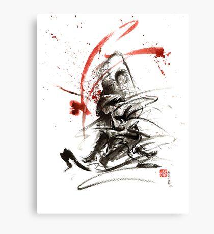 Samurai sword black white red strokes bushido katana martial arts sumi-e original fight ink painting artwork Canvas Print