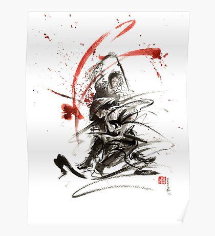 Samurai sword black white red strokes bushido katana martial arts sumi-e original fight ink painting artwork Poster