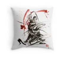 Samurai sword black white red strokes bushido katana martial arts sumi-e original fight ink painting artwork Throw Pillow