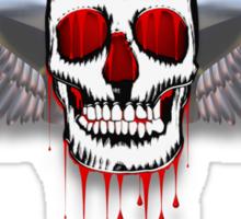 Flying bleeding skull with chromed wings illustration Sticker