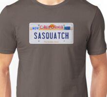 California Sasquatch License Plate  Unisex T-Shirt