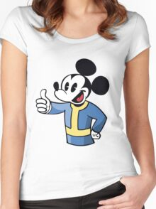 Thumbs up Mickey Women's Fitted Scoop T-Shirt