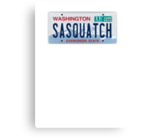 Washington Sasquatch License Plate  Canvas Print