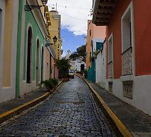 Dazzling Caribbean Colors - a Street in San Juan, Puerto Rico by Georgia Mizuleva