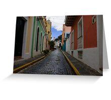 Dazzling Caribbean Colors - a Street in San Juan, Puerto Rico Greeting Card