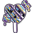 Skull arrow heart pop purple blue yellow by aygeartist