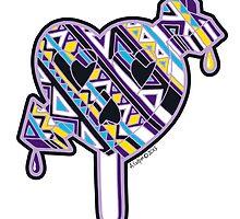 Skull arrow heart pop purple blue yellow by aygeartist