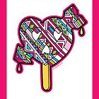 Skull arrow heart pop pink blue black with border by aygeartist