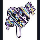 Skull arrow heart pop purple blue yellow with border by aygeartist