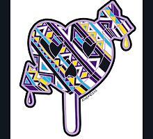 Skull arrow heart pop purple blue yellow with border by aygeartist