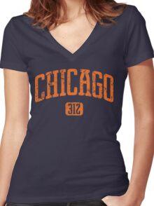 Chicago 312 (Orange Print) Women's Fitted V-Neck T-Shirt