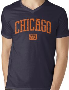 Chicago 773 (Orange Print) Mens V-Neck T-Shirt