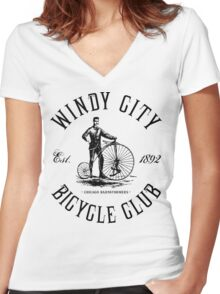 Chicago Bicycle Club Women's Fitted V-Neck T-Shirt