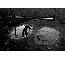 Black and white conceptual photo print puddle with reflection and swing fine art wall art - Specchi del passato Photographic Print