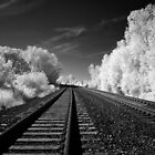Railroad in infrared classic American landscape - The Iron Road by visionitaliane