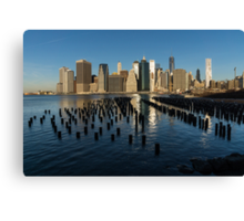 Luminous Blue, Silver and Gold - Manhattan Skyline and East River Canvas Print