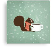 Squirrel Coffee Holiday Metal Print