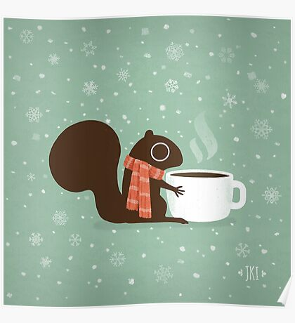 Squirrel Coffee Holiday Poster