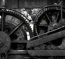 Old gears and machinery black and white film photography - Old Rust by visionitaliane