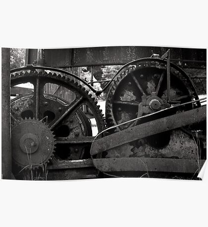 Old gears and machinery black and white film photography - Old Rust Poster