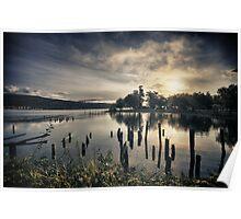 Sun rising over Lake Whatcom in Bellingham dramatic sunrise landscape in the Pacific Northwest fine art color - Inizia il giorno Poster