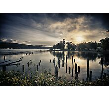 Sun rising over Lake Whatcom in Bellingham dramatic sunrise landscape in the Pacific Northwest fine art color - Inizia il giorno Photographic Print
