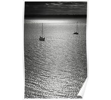 Sailboat on the sea at sunset black and white film - Navi sull'argento Poster
