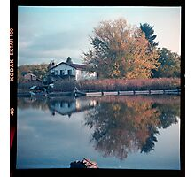 House on the lake with tree in the fall and reflection on the water landscape square wall art home decor - La casa sul lago Photographic Print