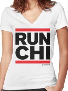 Run Chicago (v3) Women's Fitted V-Neck T-Shirt