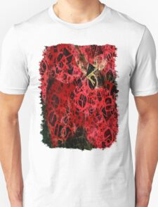 Mottled Red Poinsettia 1 Ephemeral Letters 4 Unisex T-Shirt