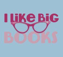 I LIKE BIG BOOKS in pink with cute eye glasses Kids Tee