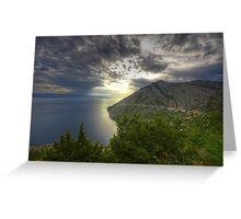 Landscape on the Mediterranean sea sunset naturalistic fine art - Mare d'Estate Greeting Card