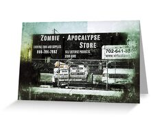 Zombie Apocalypse Store, survival supplies Greeting Card