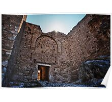 Acrocorinth medieval fortification fort castle Greece color travel - La Fortezza nel Sole Poster